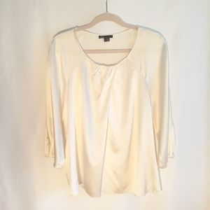 VINCE silk blend cream white blouse, size Large